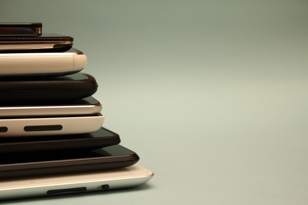 stacked cellphones